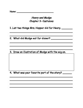 Henry and Mudge and Mrs. Hopper's House comprehension Questions