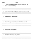 Henry and Mudge and The Best Day of All Comprehension sheets