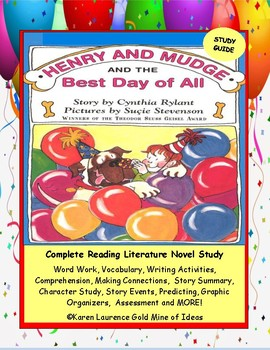 Henry and Mudge and The Best Day of All ELA Novel Reading Study Guide