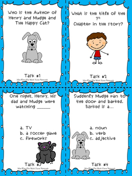 Henry and Mudge and The Happy Cat {12 Independent Activities + 20 Task Cards}