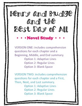 Henry and Mudge and the Best Day of All Novel Study