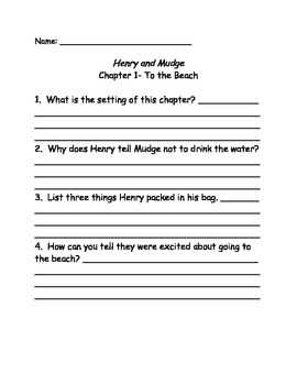 Henry and Mudge and the Forever Sea Comprehension Questions