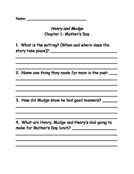 Henry and Mudge and the Funny Lunch comprehension Questions