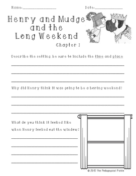 Henry and Mudge and the Long Weekend Comprehension Packet FREEBIE!