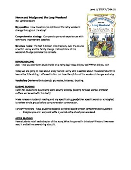 Henry and Mudge and the Long Weekend Guided Reading Lesson Plan - Level J