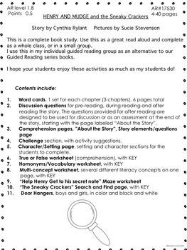 Henry and Mudge and the Sneaky Crackers Plan Guided Reading Novel Study  No Prep