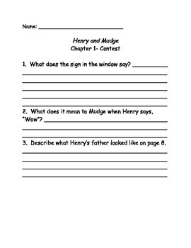 Henry and Mudge and the Snowman Plan comprehension Questions