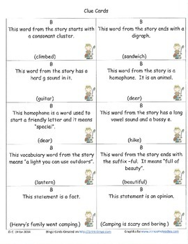 Henry and Mudge and the Starry Night Bingo Game ~ Language Arts Activity