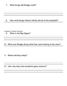 Henry and Mudge and the Starry Night Comprehension Packet