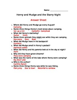 Henry and Mudge and the Starry Night Comprehension Sheet