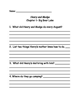 Henry and Mudge and the Starry Night Comprehension questions