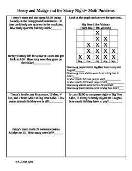 Henry and Mudge and the Starry Night ~ Cynthia Rylant ~ Math Sheets