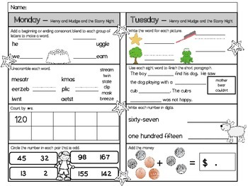 Henry and Mudge and the Starry Night Homework - Scott Foresman 2nd Grade