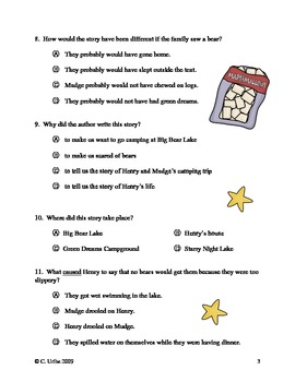 Henry and Mudge and the Starry Night ~ Reading Comprehension Test/Quiz