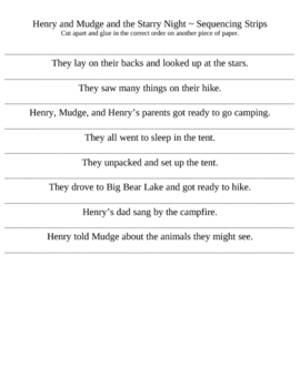 Henry and Mudge and the Starry Night ~ Story Sequence Strips
