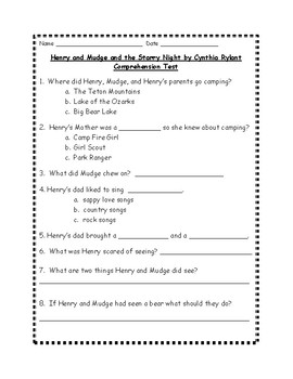 Henry and Mudge and the Starry Night by Cynthia Rylant Comprehension Test