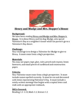 Henry and Mudge at Mrs. Hopper's House STEM Children's Engineering Design Brief