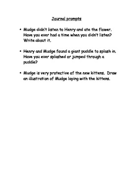 Henry and Mudge in Puddle Time Comprehension Questions