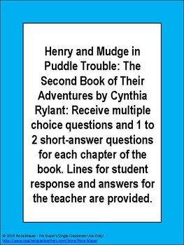 Henry and Mudge in Puddle Trouble Literacy Unit