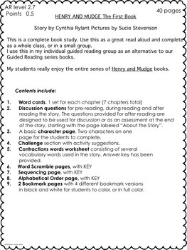 Henry and Mudge the First Book Guided Reading Novel Study No Prep Worksheets