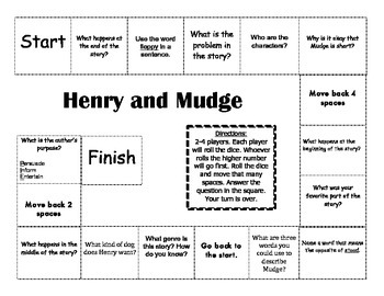 """Henry and Mudge"" the first book Journeys comprehension game board"