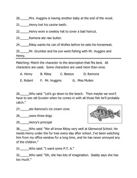 Henry and Ribsy by Beverly Cleary Objective Test