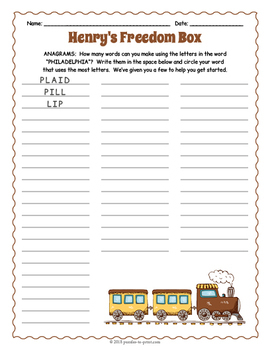 Henry's Freedom Box Activity Pack
