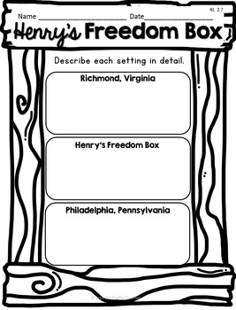 Henry's Freedom Box Reader Response CCSS Aligned Black History