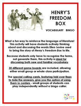 Henry's Freedom Box Vocabulary Bingo