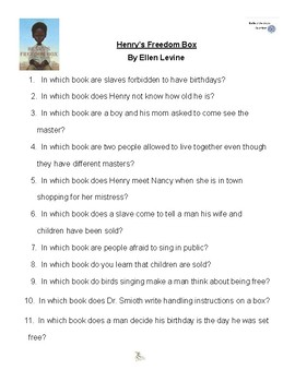 Henry's Freedom Box by Ellen Levine, Battle of the Books Questions