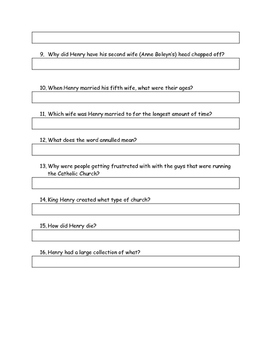 Henry the Eighth Reading Comprehension Questions