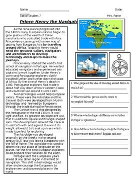 Henry the Navigator Worksheet