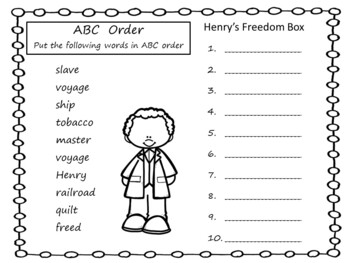 Henry's Freedom Box ~ 55 pages of Common Core Activities