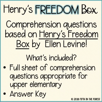 Henry's Freedom Box Comprehension Questions FREEBIE