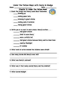 Henry's Halloween Book Club Packet to accompany Under the Yellow Moon
