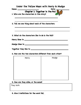 Henry's Halloween Book Club Packet to accompany Under the