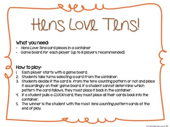 Hens Love Tens (A 10s Skip-Counting Game)
