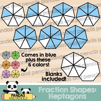 Heptagon Fractions Clip Art (Thick Lines)