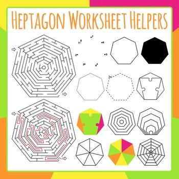 Heptagon Worksheet Helpers Clip Art Set for Commercial Use