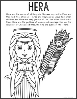 Hera, Greek Mythology Informational Text Coloring Page Act