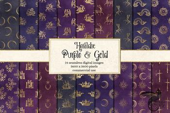 Heraldic Crests, Heraldry Digital Scrapbook Paper Royal Backgrounds