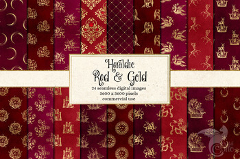 Heraldic Red and Gold Digital Paper, seamless textures and patterns