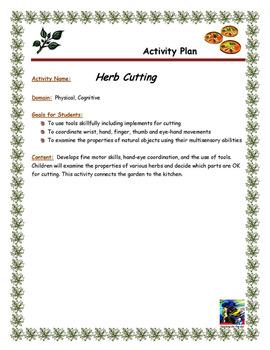 Herb Cutting Activity Plan