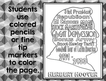 Herbert Hoover Coloring Page and Word Cloud Activity