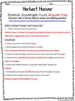 Herbert Hoover Internet Scavenger Hunt WebQuest Activity