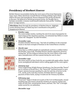 Herbert Hoover Timeline Activity- The Great Depression