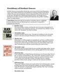Herbert Hoover Timeline Activity- The Great Depression