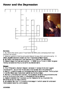 Herbert Hoover and the Depression Crossword