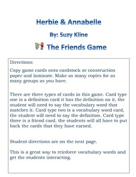 Herbie & Annabelle The Friend Vocabulary Game
