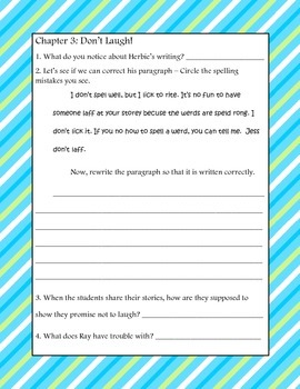 Herbie Jones and the Second Grade Slippers Comprehension Packet